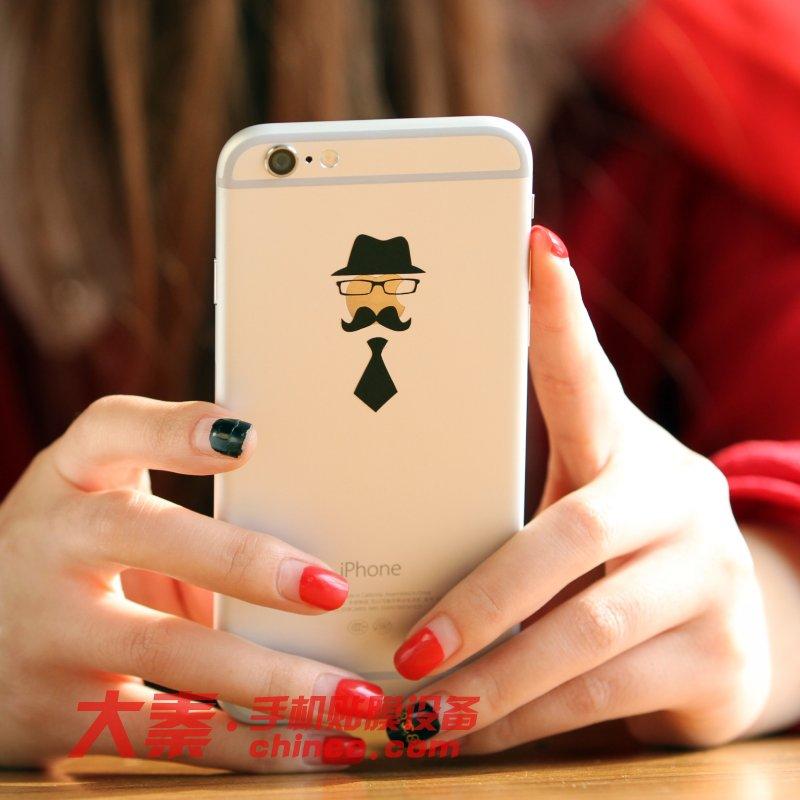起司猫手机个性化贴纸-苹果iPhone6手机创意贴膜 街边实拍